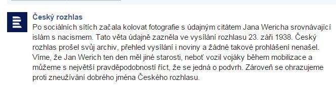 Status Českého rozhlasu na Facebooku.